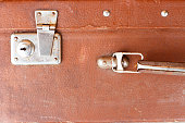 Close up image of an old leather suitcase handle.