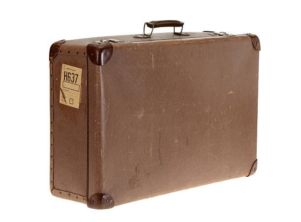 Brown vintage suitcase on white background stock photo