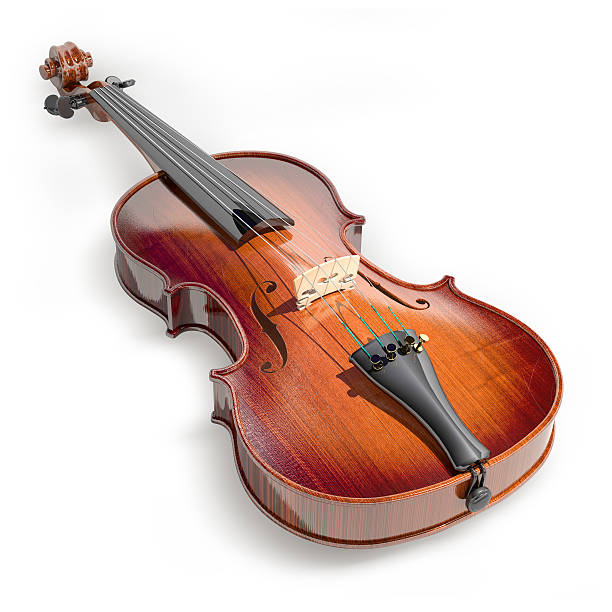 A brown violin on a white background stock photo