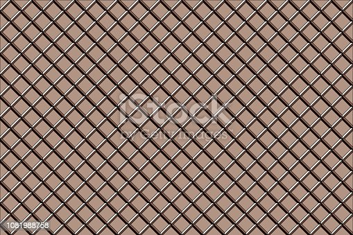 istock Brown waffle pattern background. 3D render. 1081988758