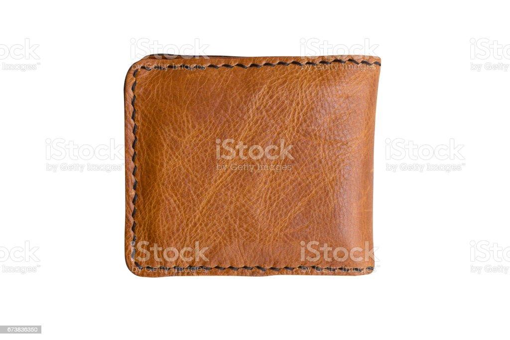 portefeuille brun sur fond blanc. photo libre de droits