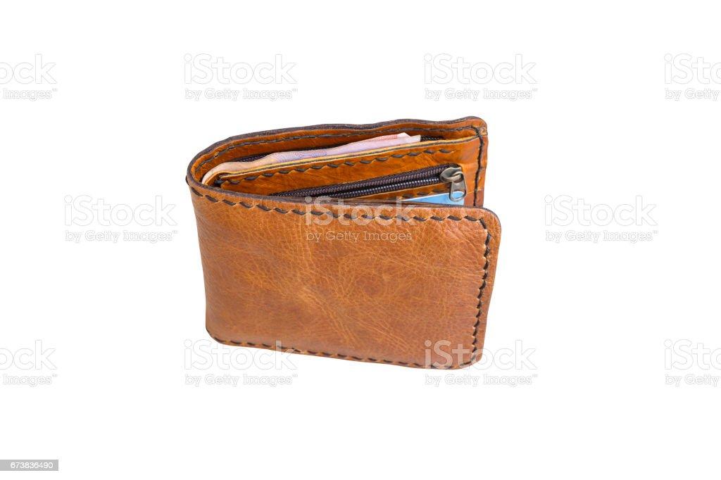 Beyaz arka plan üzerinde kahverengi cüzdan. royalty-free stock photo