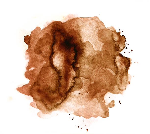 Brown watercolor background on white stock photo
