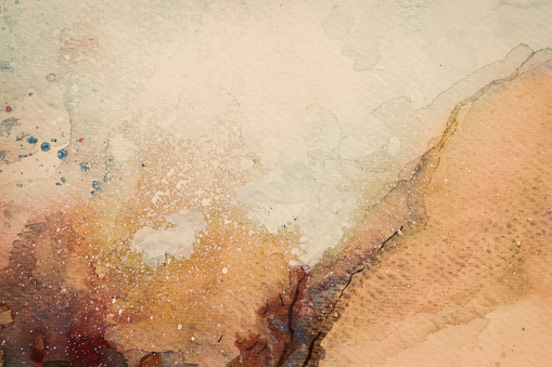 brown abstract watercolor  with splashes. My own work.