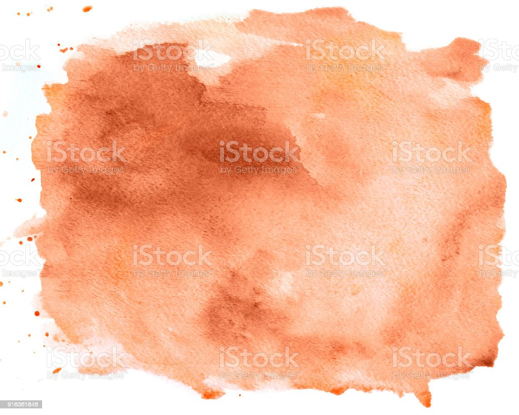 Brown watercolor background with splashes on white paper stock photo
