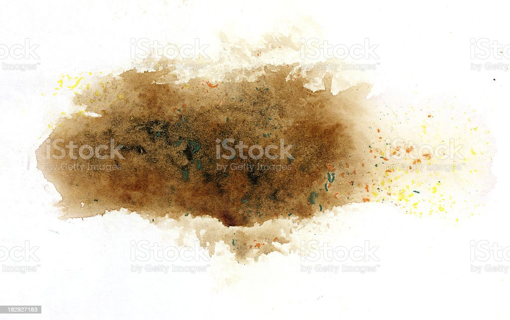 Brown watercolor blots on white background royalty-free stock photo