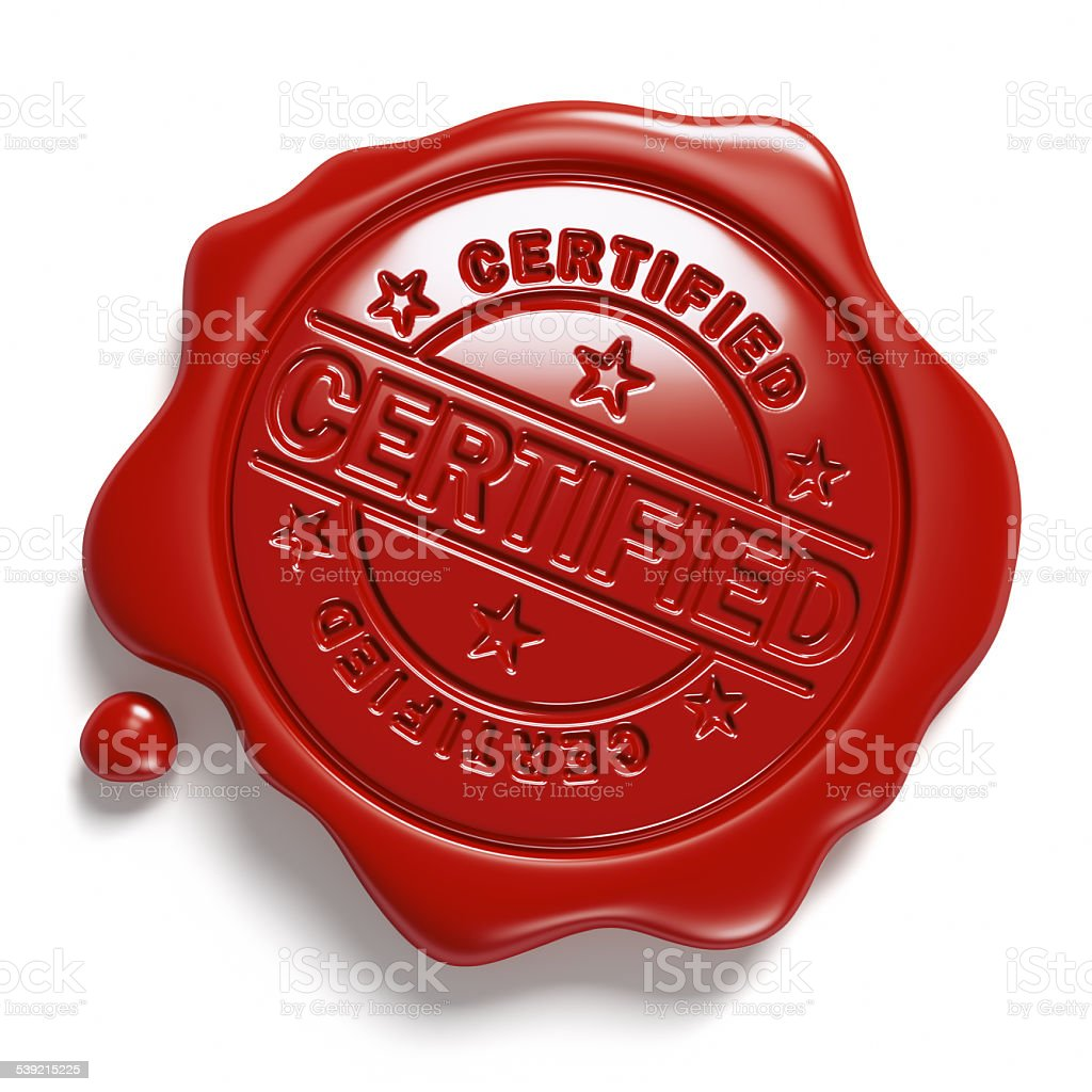 Brown wax seal. «Certified». stock photo