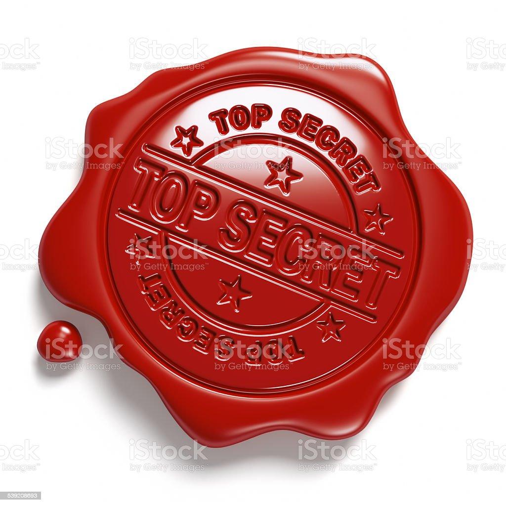 Brown wax seal. «Top Secret». stock photo