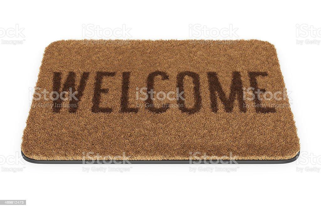 Brown welcome doormat stock photo