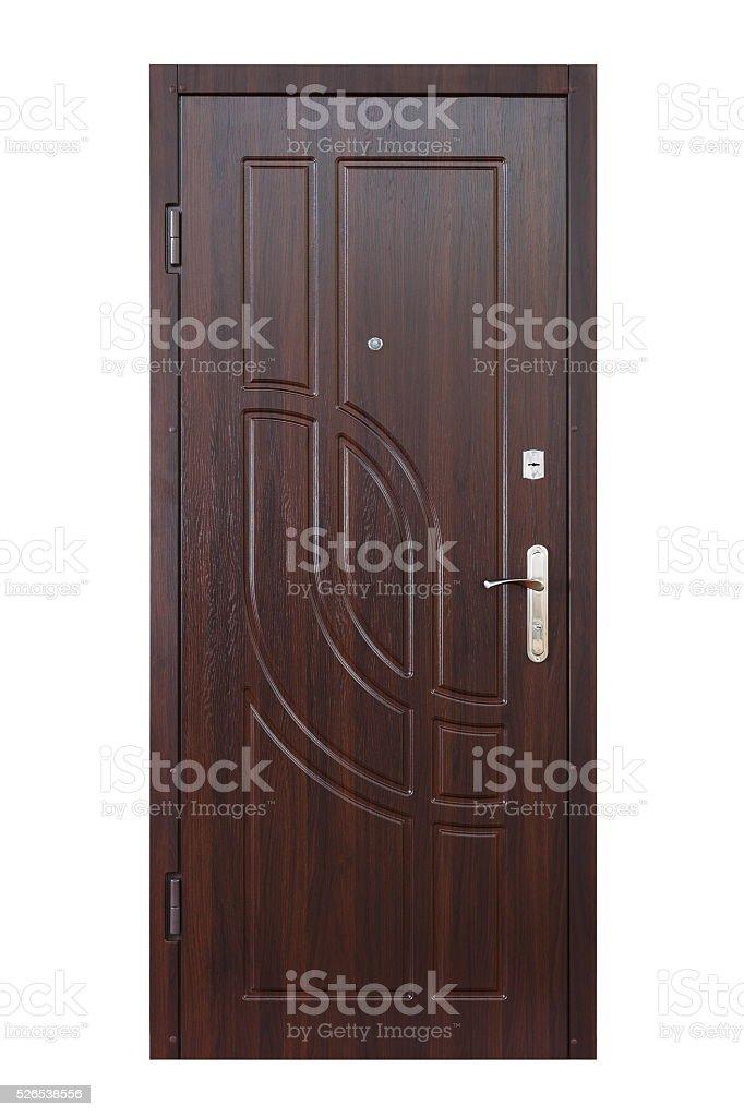 Marron en bois wengé porte fermée seul sur blanc - Photo