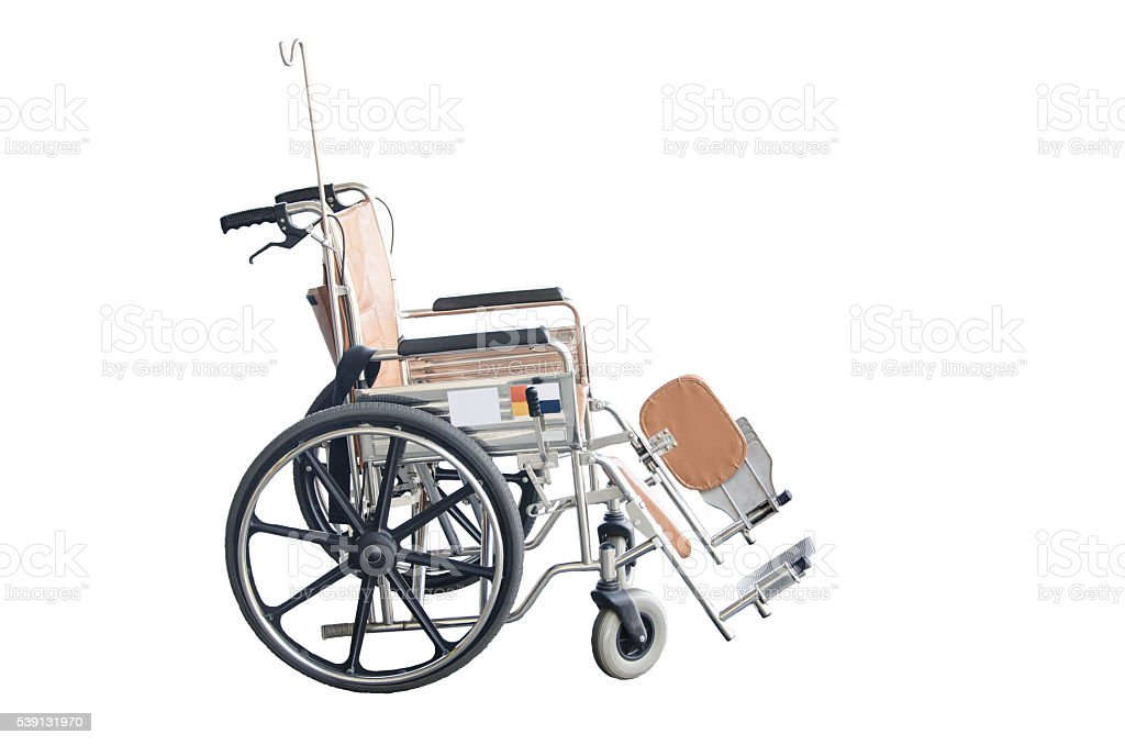 Brown wheelchairs on white background stock photo