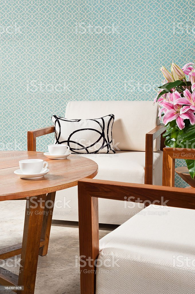 Brown white furniture in a living room royalty-free stock photo