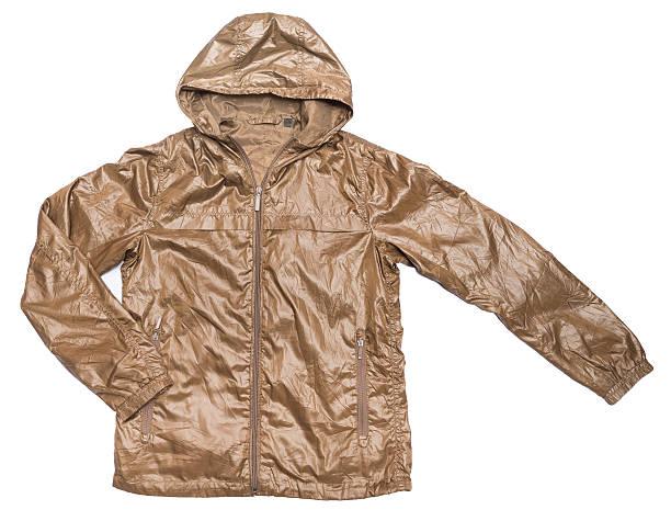 braun windjacke wasserdichte glänzenden wet-jacke mit durchgehendem reißverschluss - zip hoodies stock-fotos und bilder