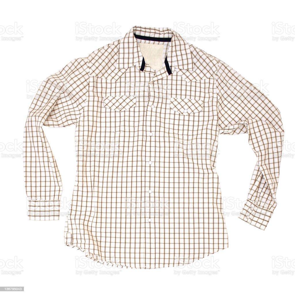 Brown Windowpane Shirt - White Background stock photo