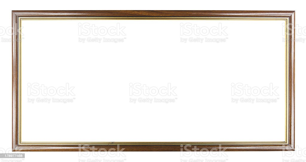 Brown with Gold wooden picture modern frame, included clipping p royalty-free stock photo