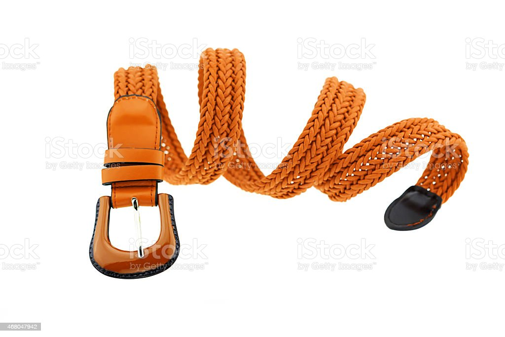 brown woman crochet belt isolated on white background stock photo