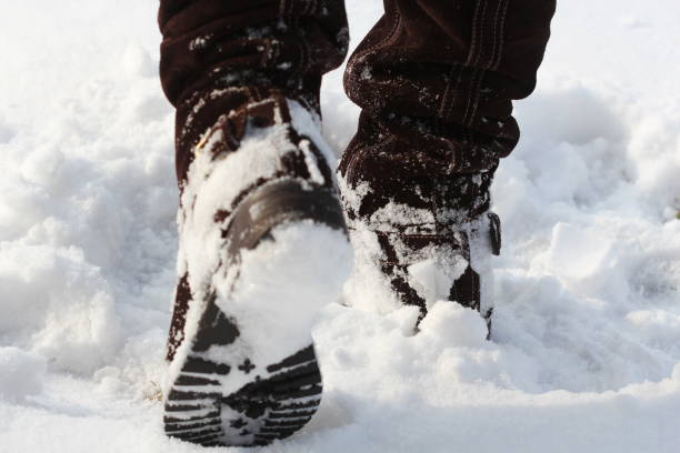 Brown women's shoes covered by snow in the winter stock photo