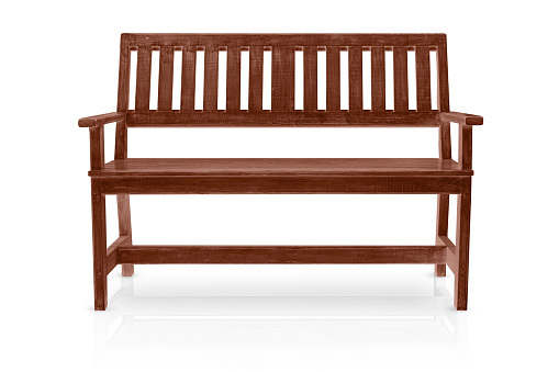 brown wood bench isolated on white background
