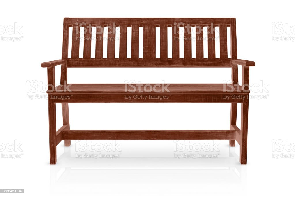 brown wood bench isolated on white background stock photo