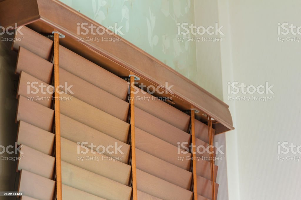 brown wood curtain control lighting stock photo
