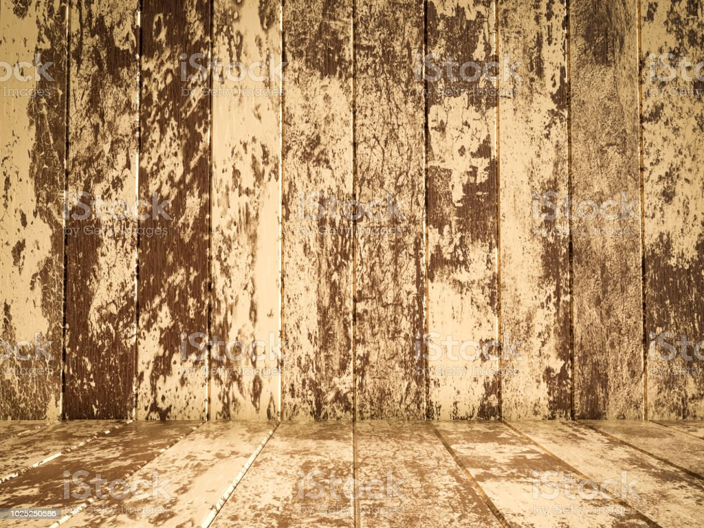 Brown wood flooring and wood wall stock photo