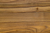 Closeup of wood grain fibers. The wood surface is stained with a natural medium light brown color and the wood grain texture runs horizontally. This wood pattern can be used as background or backdrop.