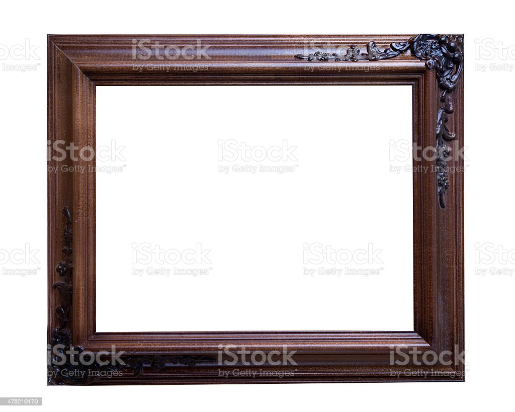 Brown wood picture frame stock photo