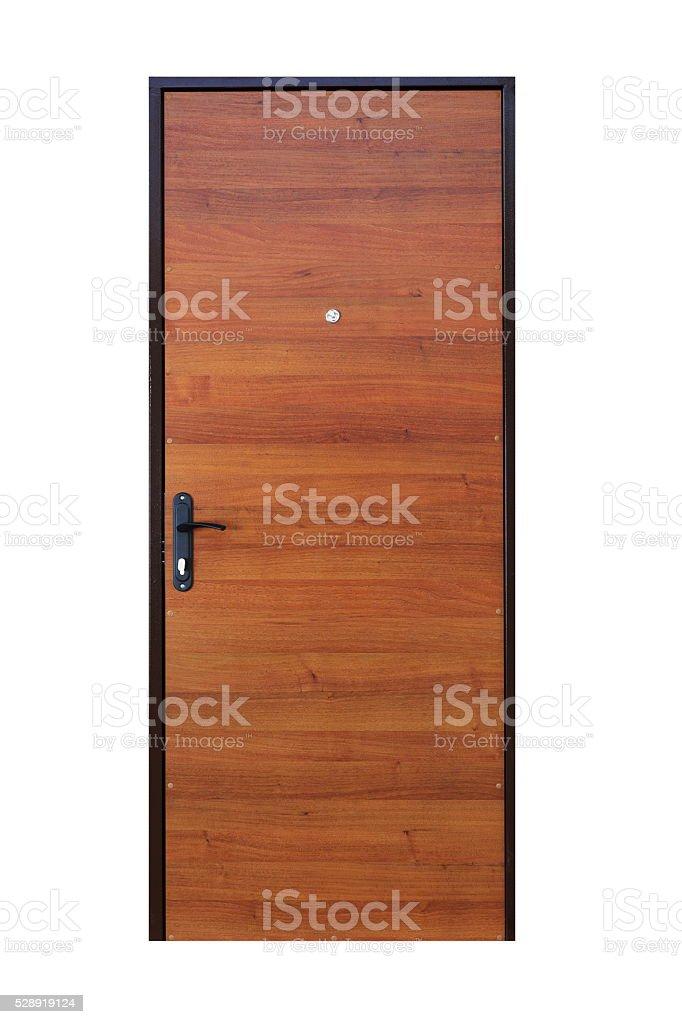 Brown wood veneer closed door isolated on white stock photo