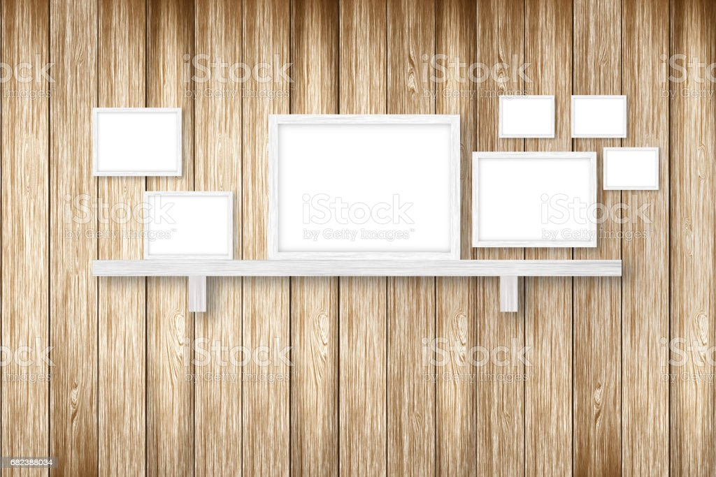 brown wooden background with white frames, interior decoration,3D illustration royalty-free stock photo