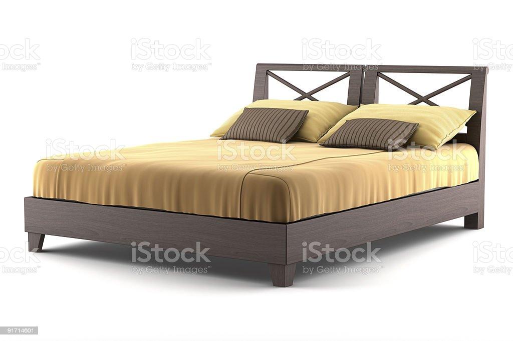 Braun Holz-Bett, isoliert auf weißem Hintergrund – Foto