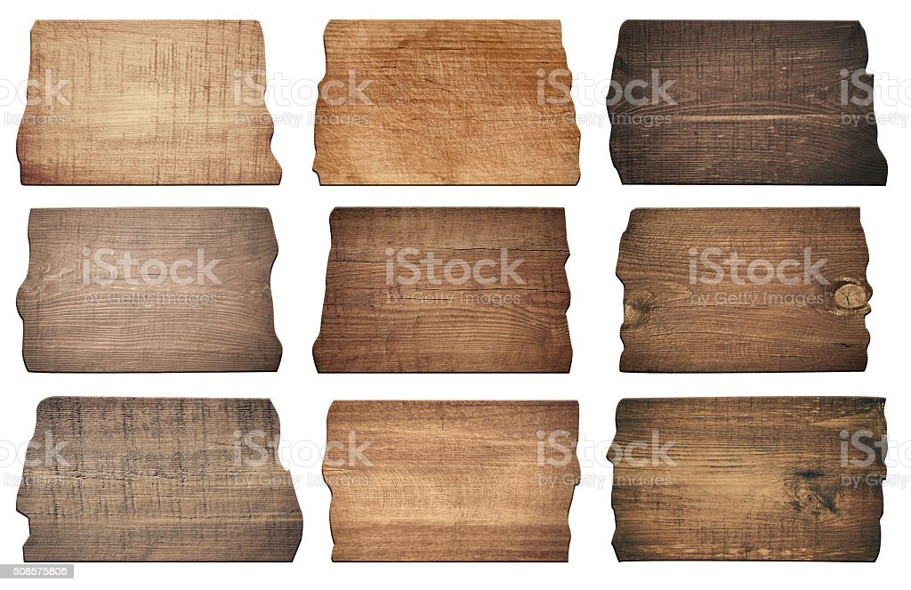 Brown wooden boards, signboard, planks are isolated on white background stock photo