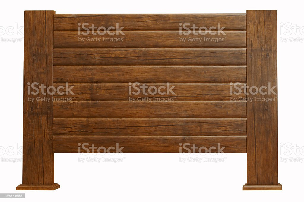 brown wooden headboard isolated on white stock photo
