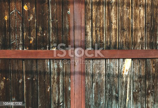 1178501072istockphoto Brown wooden pannels backgroubg. Retro gate background. 1054927232