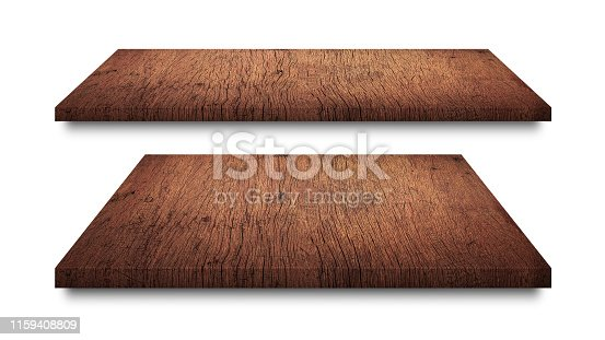 642100994istockphoto Brown wooden shelves isolated on white background. Blank wood shelf or product display. ( Clipping path ) 1159408809