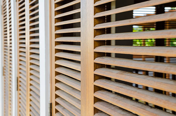 Brown wooden shutters stock photo
