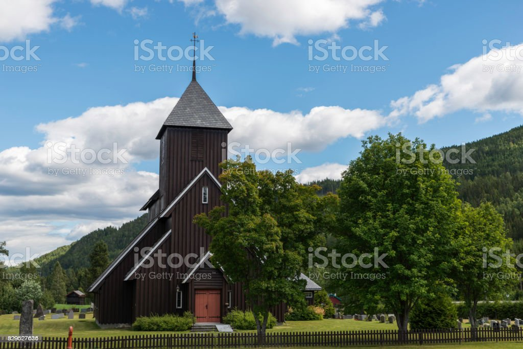 brown  wooden stave church  in Norway stock photo