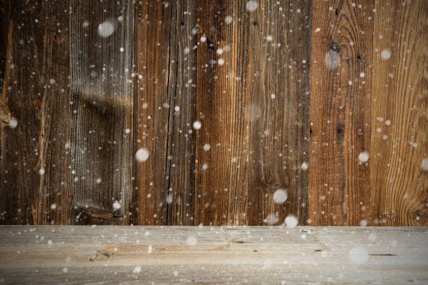 Braune Holz Vintage oder rustikale Hinterrunde oder Textur, Schnee – Foto