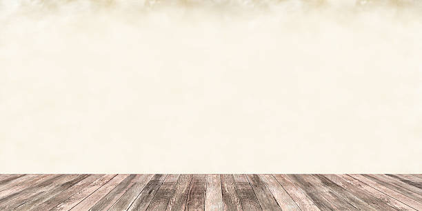 brown woodgrain boards beige wall abstract architecture background - beige background stock photos and pictures