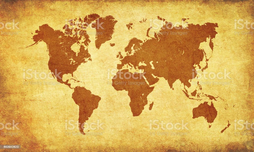 Brown World map on old parchment stock photo