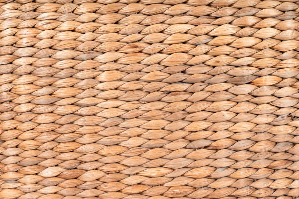 Brown Woven Straw Texture Background stock photo
