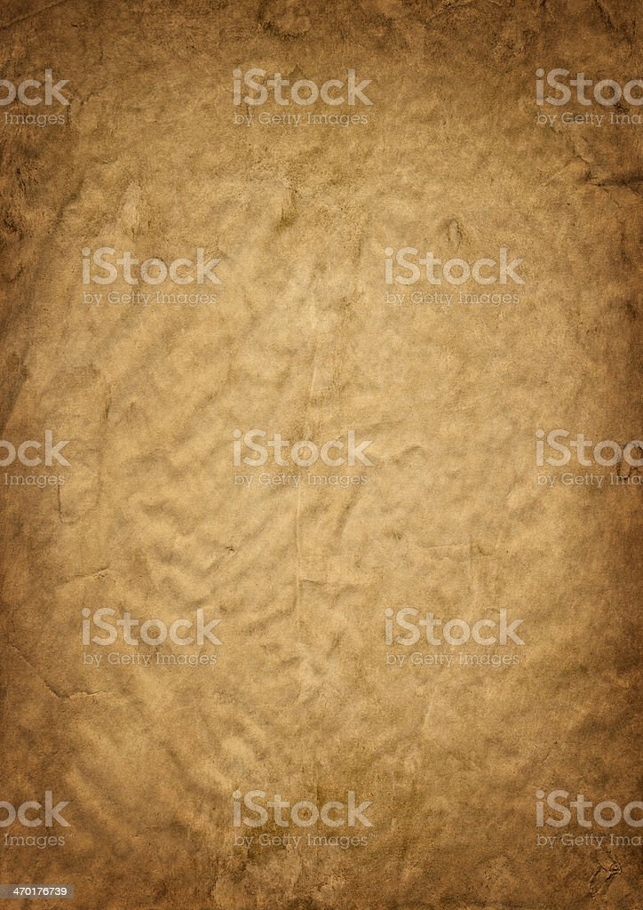 Brown Wrapping Paper Crumpled Mottled Vignette Grunge Texture royalty-free stock photo