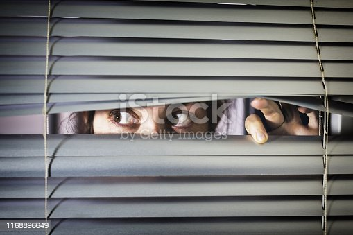A young woman with brown eyes looks sideways nervous through closed blinds.