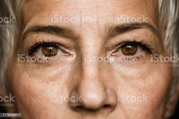 Photo of Brown-eyed senior woman.