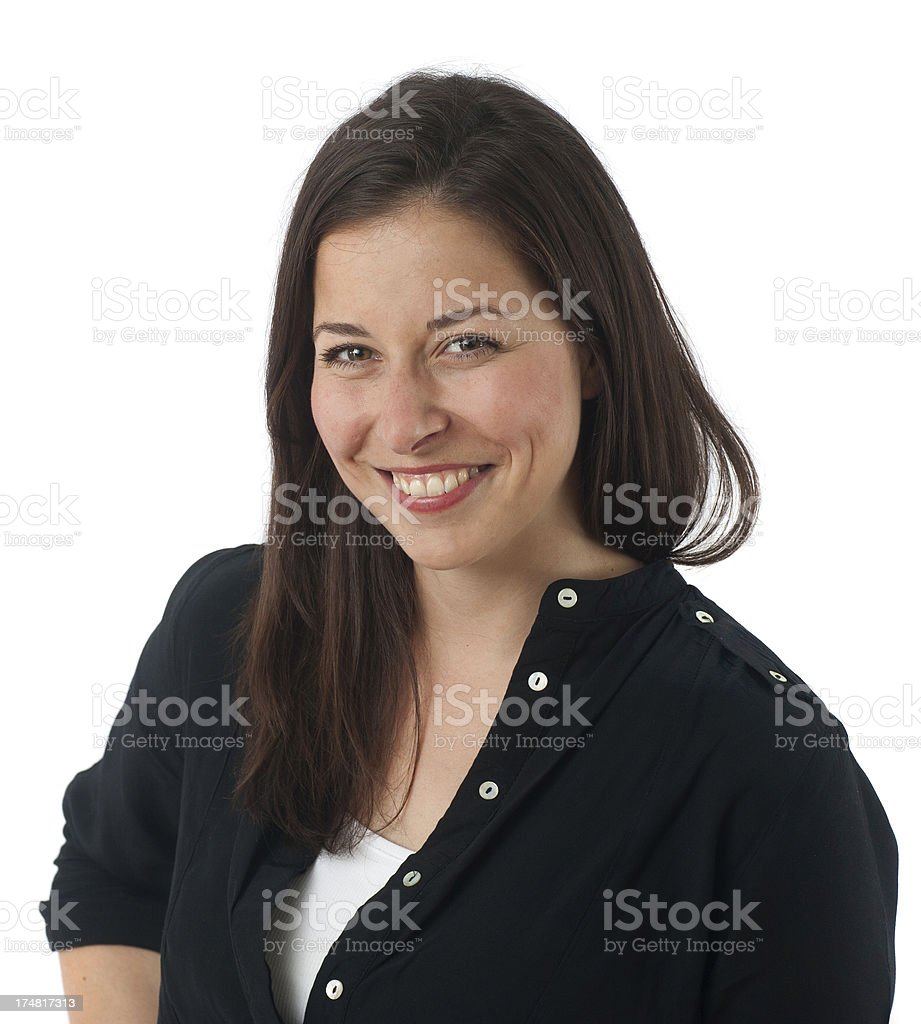 brownhaired causacian girl is smiling innocent and honestly stock photo