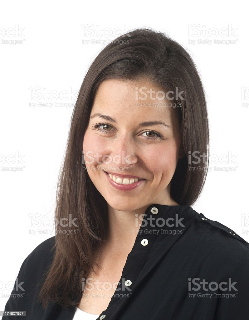 brownhaired girl is smiling innocent stock photo