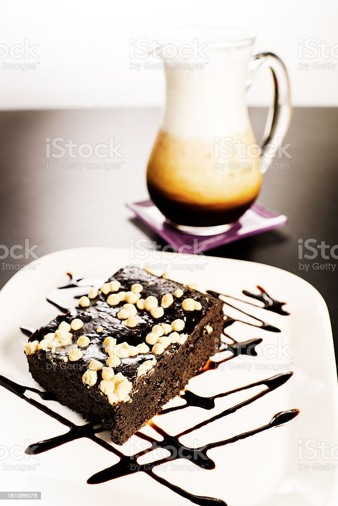 Brownie and Ice Coffee royalty-free stock photo