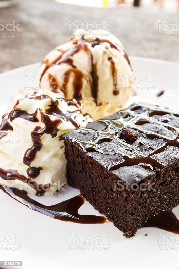 Brownie and icecream. stock photo