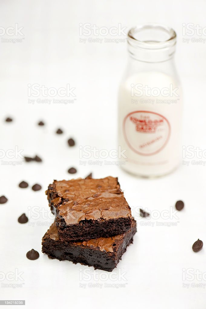 Brownie and Milk 2 royalty-free stock photo
