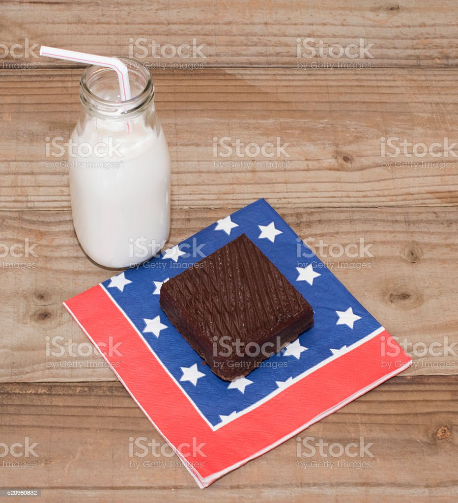 Brownie and Milk on Wood Table stock photo