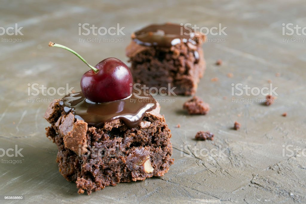 Brownie. Dark chocolate cakes, Baked from the oven, cut. - Royalty-free Baked Pastry Item Stock Photo